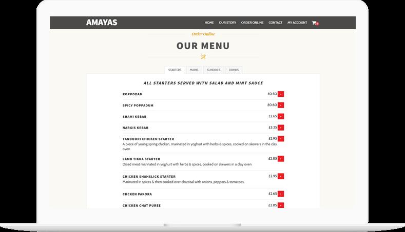 Online Ordering System at Amaya Birmingham